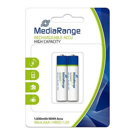 MediaRnage AAA 1000mah Rechargeable Batteries 2pcs
