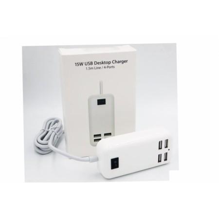 15W USB Desktop Charger 1.5m Line/4-Ports